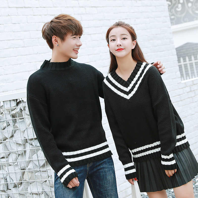 low priced 074ab 06454 ... Matching His and Hers Outfits Preppy Style Boyfriend Girlfriend Striped  V Neck Sweater Cute Sweet Black ...