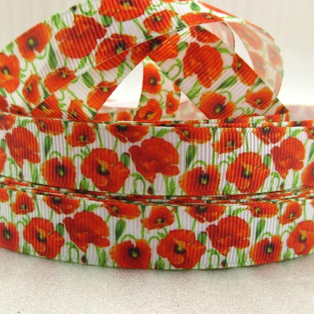 """5/8 """"(16mm) אדום פרגים פרח באיכות גבוהה מודפס פוליאסטר סרט 5 מטרים, DIY בעבודת יד חומרים, חתונה מתנה לעטוף, 5Yc1224"""