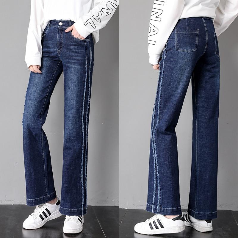 Qiukichonson High Waist Korean Style Women Straight Jeans 2019 Spring Side Stripe Patchwork Stretch Wide Leg Flare Jeans