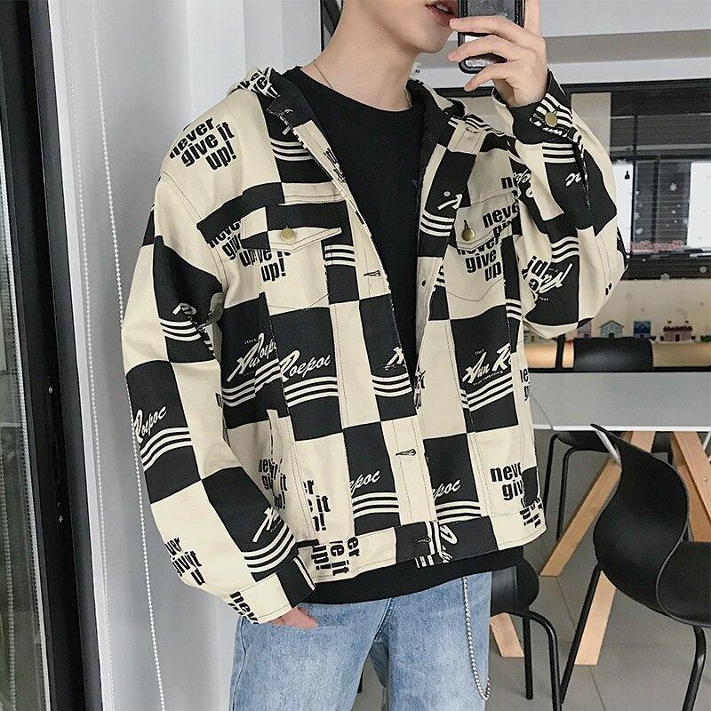 2019 printemps Streetwear lettre Plaid impression hommes veste rue travail treillis coton lavage chapeau lâche manteau mâle grande taille M-5XL