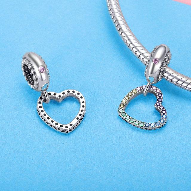 Strieborný prívesok DÚHOVÉ SRDCE štýl Pandora Silver Bead RAINBOW HEART DIY Jewelry