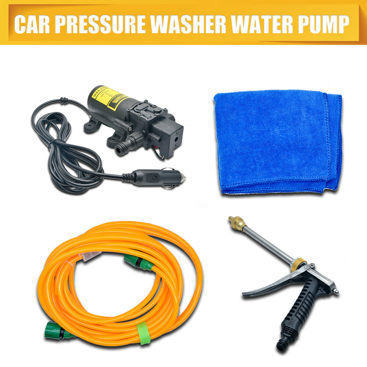 Car Pressure Washer Power Pump 12v 80w Self-priming Electric Wash Kit Portable 2019 Official