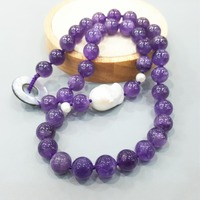LiiJi Unique Amethysts/Jaspers/Blue Lace Agates/Rubys Zoisite/Onyx/Kyanite Baoque Pearl Shell Clasp Necklace
