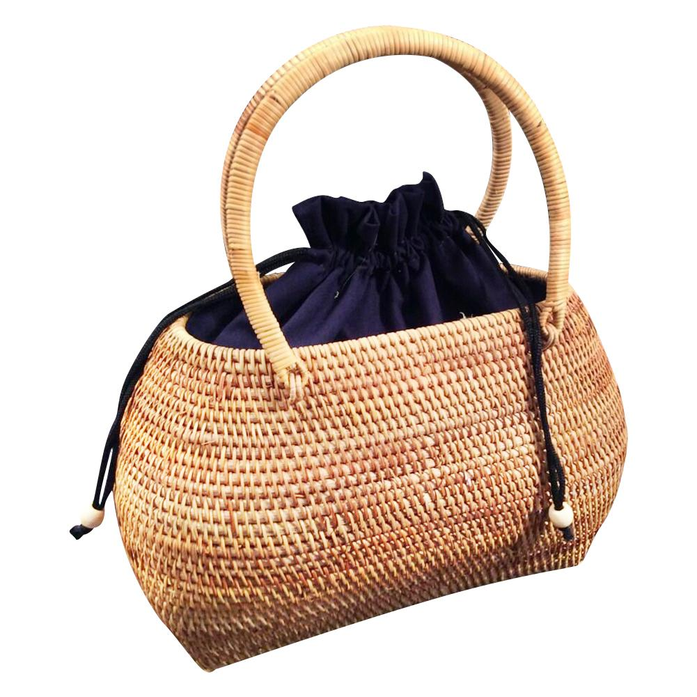 Rattan Hand Woven Bag Tote Straw Handbag Handmade Tote Bamboo Purse Straw Summer Beach Bags For