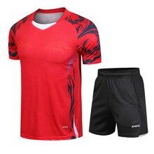 Быстросохнущая дышащая рубашка для бадминтона, мужская и женская одежда для настольного тенниса, тренировка команды, Беговая футболка+ шорты