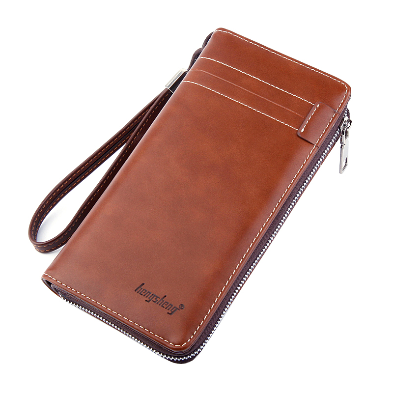 Business Leather Wallet For Men Wristlets Zipper Phone Bags Luxury Solid PU Leather Wallet Male Long Causal Money Clutch Wallets