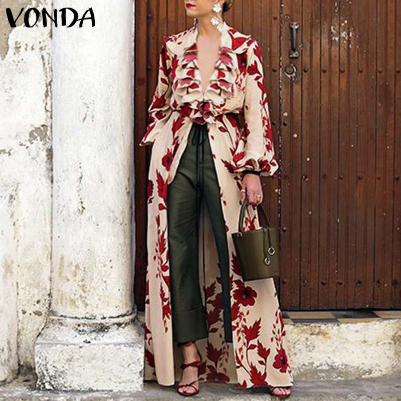 VONDA Fashion 2019 Women Floral Print Blouses Sexy V Neck Long Sleeve Long Tops Casual Loose Plus Size Ruffle Shirts Vintage Top