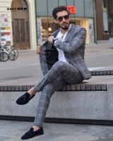 (Jacket+Vest+Pants) Plaid Mens Wedding Suit Male Blazers Slim Fit Suits for Men Costume Business Formal Party Classic Gray/Navy