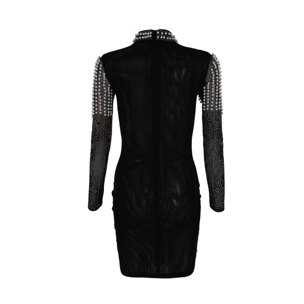 Haute qualité à manches longues robe noire cordon trou robe de soirée - 3
