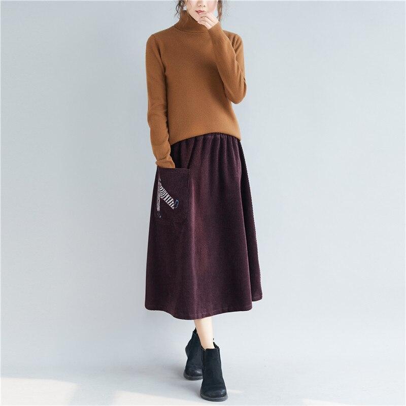 New 2018 Women Long dress Slim Embroidery Corduroy Dresses Black Bordeaux Red 8225