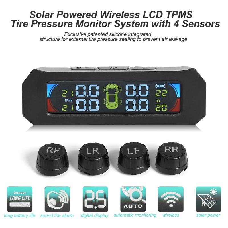 Car TPMS Tire Pressure Monitoring System LCD Digital Display Tyre Temperature Warning Wireless With 4 Sensor Socket(China)