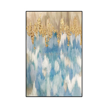 handmade blue and gold oil painting on canvas modern Best Art Abstract oil painting for home decor oil canvas painting wall art 10m linen blend primed blank canvas paper for painting coarse grained oil painting canvasoil painting canvas paper