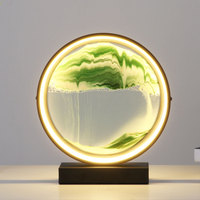 led table lamp desk light moving sand picture art painting gift desktop art diy drawing toy decorative hourglass bedside lamp