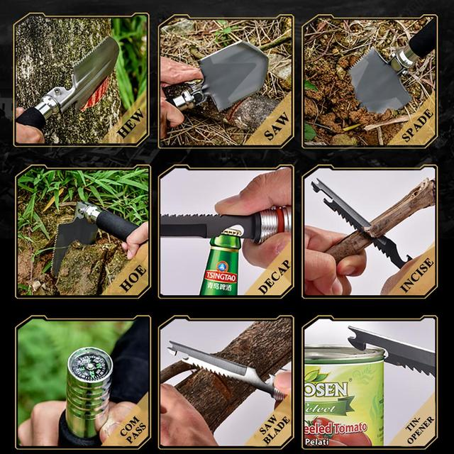 Multifunction Shovel compass Outdoor Camping Survival Folding Spade Tool Equipment
