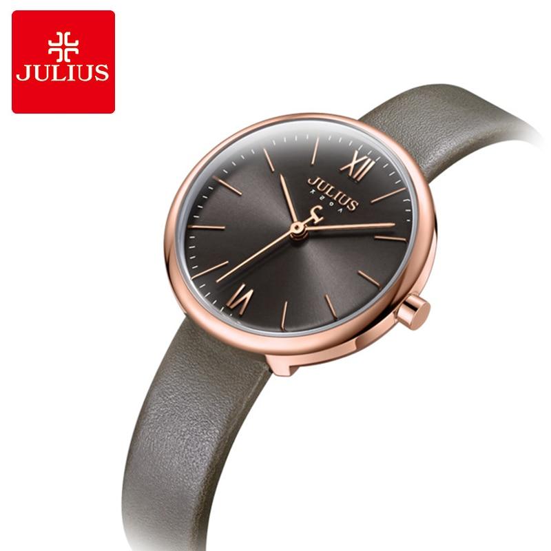 Julius Luxury Rose Gold Women Watches Fashion Dress Leather Thin Ladies Watch Relogio Feminino Casual Female Quartz Wristwatche цена