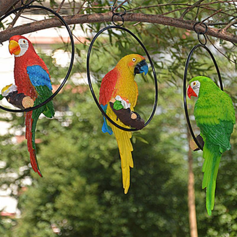 Simulation Resin Bird Parrot Stand Circls Matching Iron Ring Circle Garden Decoration Hanging Yard Ornament For Home garden