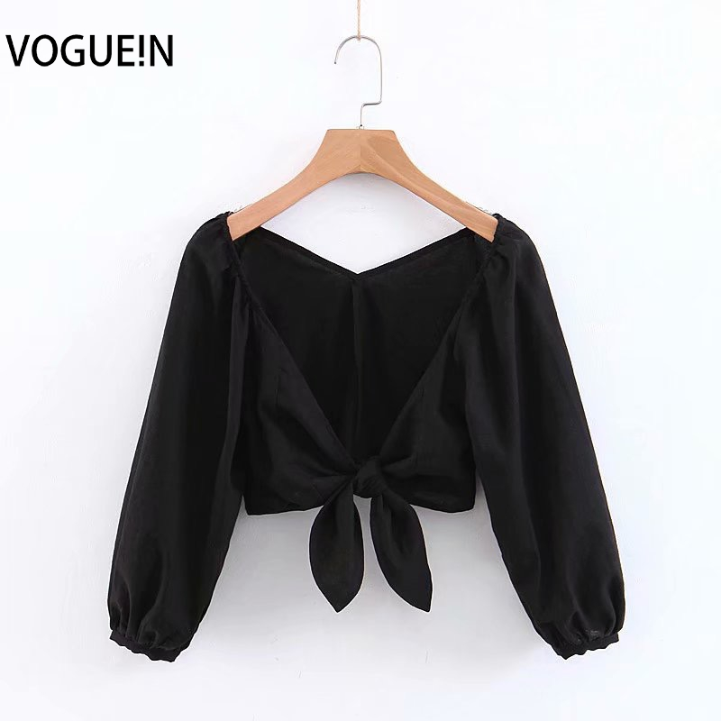 Kind-Hearted Voguein New Womens Sexy Deep V-neck 3/4 Sleeve Black/white Short Top Shirt Blouse Wholesale Packing Of Nominated Brand Women's Clothing
