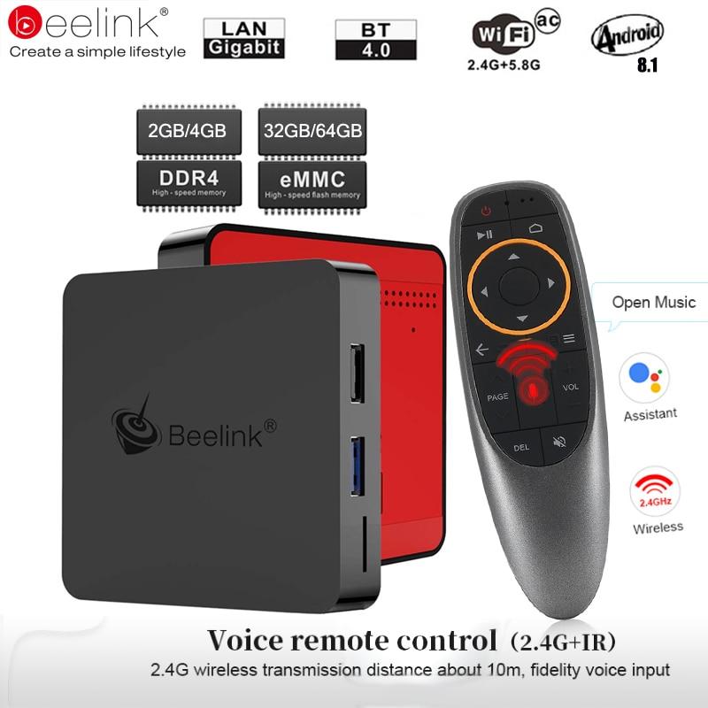 Beelink GT1 Mini TV Box Android 8.1 Voice Control Amlogic S905X2 TV Box 4G DDR4 32G BT 4,0 Dual wifi HDMI 2,0 4 K Set-Top Box