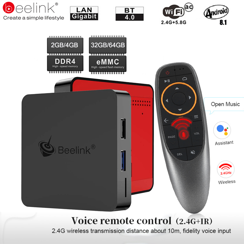 Beelink GT1 Mini caja de TV Android 8,1 Control de voz Amlogic S905X2 TV Box 4G DDR4 32G BT 4,0 dual Wifi HDMI 2,0 4 K Set-Top Box