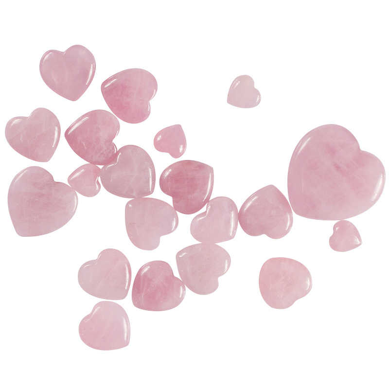 Sale 1pc Healing Gemstone Heart  7 Size Crystal  Crafts Natural  Rose Quartz  Couple Pink DIY Carved