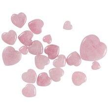 Venda 1pc cura pedra preciosa coração 7 tamanho artesanato de cristal rosa natural quartzo casal rosa diy esculpida