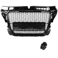 Car Front Sport Hex Mesh Honeycomb Hood Grill Black for Audi A3/S3 8P 2009 2012 Black for RS3 Quattro Style Car Accessories NEW