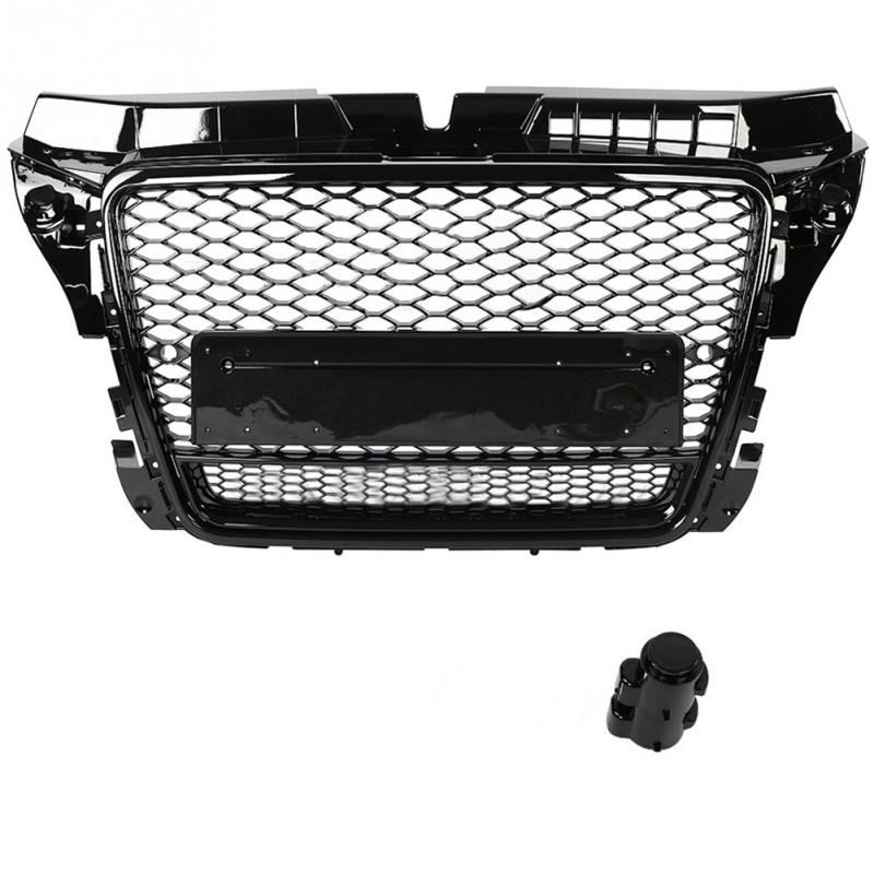 Car Front Sport Hex Mesh Honeycomb Hood <font><b>Grill</b></font> Black for <font><b>Audi</b></font> A3/<font><b>S3</b></font> 8P 2009-2012 Black for RS3 Quattro Style Car Accessories NEW image