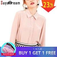 Women Silk Blouse long sleeved 100% REAL SILK CREPE Blouses Solid Basic Button OFFICE Lady SHIRT 2018 WHITE Blusas femininas