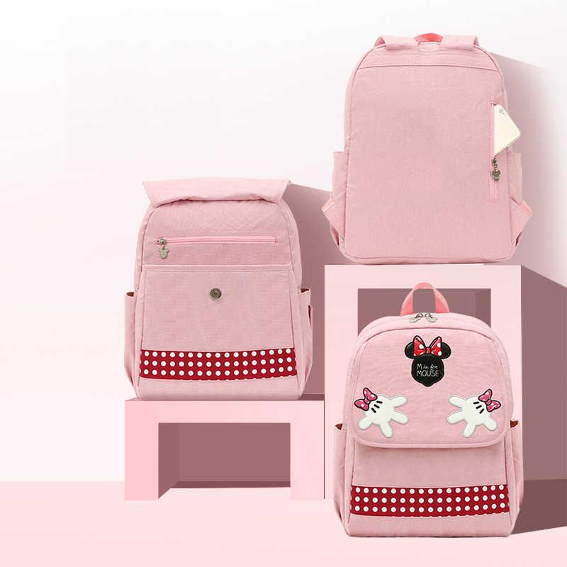 Disney Minne Mickey bolsa de maternidad Rosa multifuncional de gran capacidad Usb almohadilla de calefacción aislamiento maternidad bebé mochila para mamá