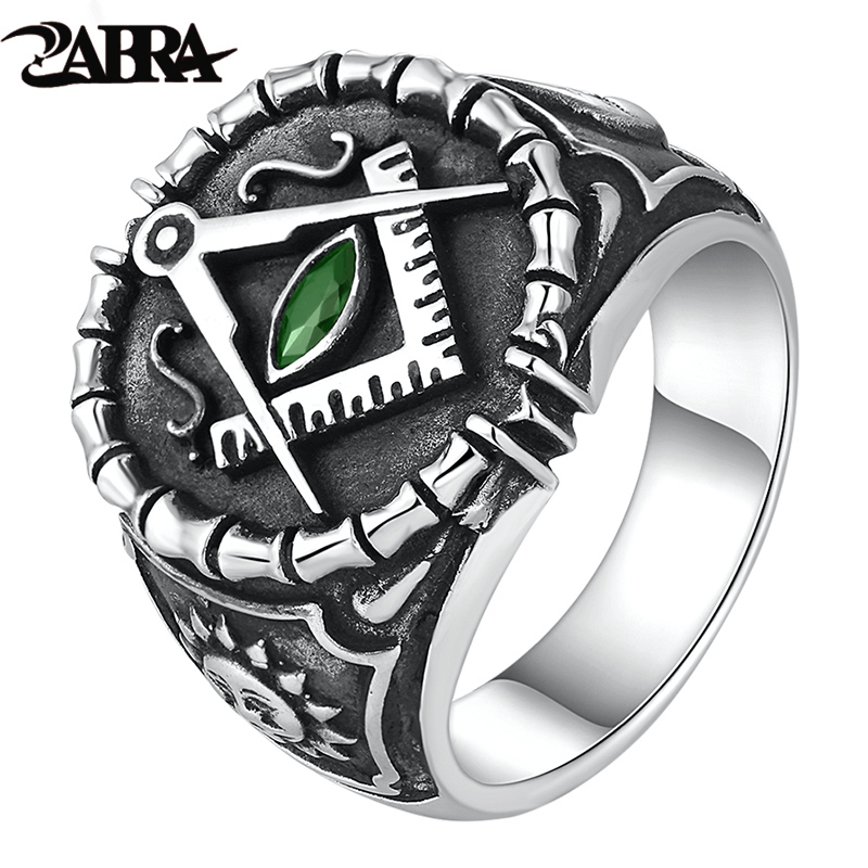 ZABRA Vintage 925 Silver Ring Mens Green Cubic Zirconia Masonic Rings For Men Punk Cool Gift