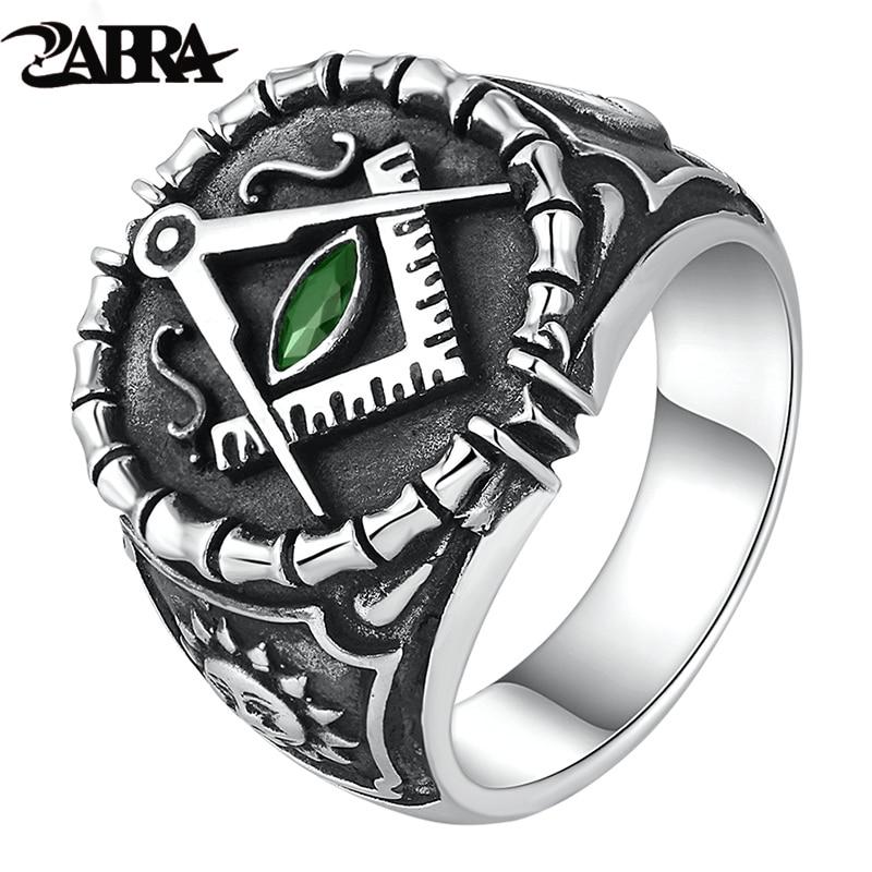 ZABRA Vintage 925 Silver Ring Mens Green Cubic Zirconia Masonic Rings For Men Punk Cool Gift