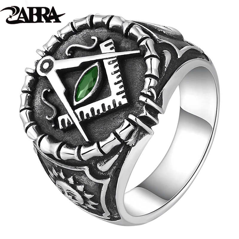 9b705304c ZABRA Vintage 925 Silver Ring Mens Green Cubic Zirconia Masonic Rings For  Men Punk Cool Gift