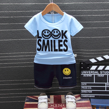 2019 Summer Baby Boys Girls Clothes Children Cotton Clothing Sets Kids Cartoon Smiley Face T-shirt Shorts 2Pcs/set Fashion Suit new 2017 retail children set cartoon dusty plane fashion suit boys jeans sets t shirt pant 2pcs kids summer clothing