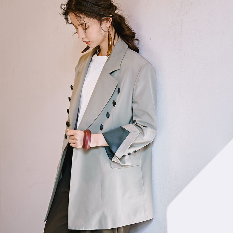 LANMREM 2019 New Niche Fashion OL Blazers For Women Spring Female s Notched Long Sleeve Contrast