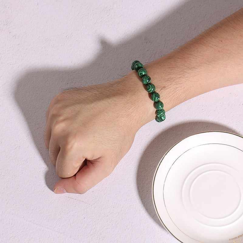Vnox vintage frisado pulseiras de corrente para mulher homem natural pedras estiramento corda corrente casual jóias masculinas