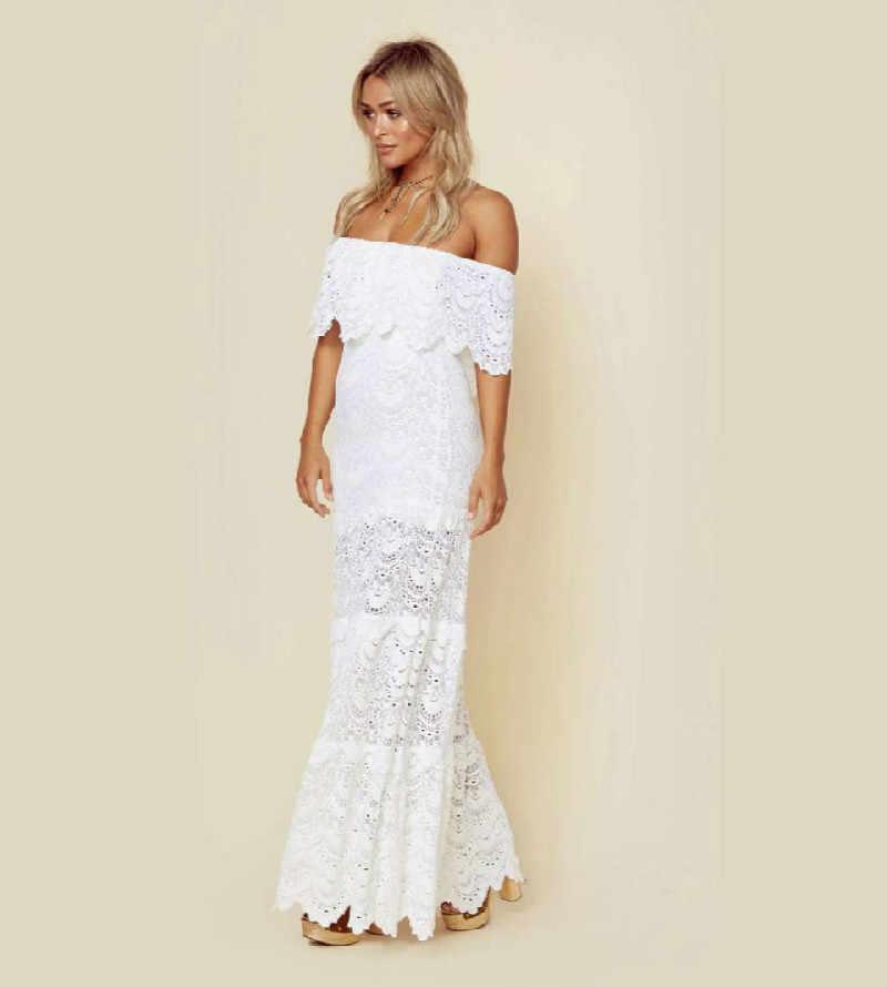Uгость Лето 2019 белое платье выдалбливают без рукавов сексуальный обтягивающий платье Элегантное вышитое длинное платье кружевные платья Vestido
