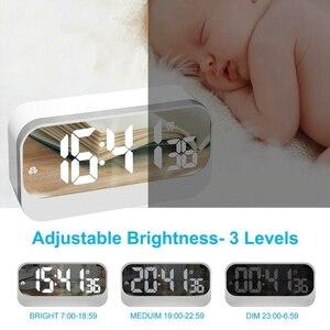 Image 4 - Réveil numérique Led, horloge Led avec Surface miroir réglage de lalarme luminosité réglable affichage des secondes, alarme de chevet