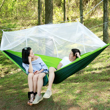 Portable Outdoor Camping Hammock With Mosquito Net Parachute Fabric Ultralight Hammocks Double Beds Hanging Swing Sleeping Bed(China)