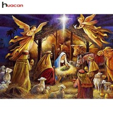 Huacan 5D Diamond Painting Full Square Drill Religion Diamond Embroidery Angels Baby Cross Stitch Rhinestone Diamond Mosaic Gift naiyue j626 2 two angels print draw 5d diamond painting diamond embroidery