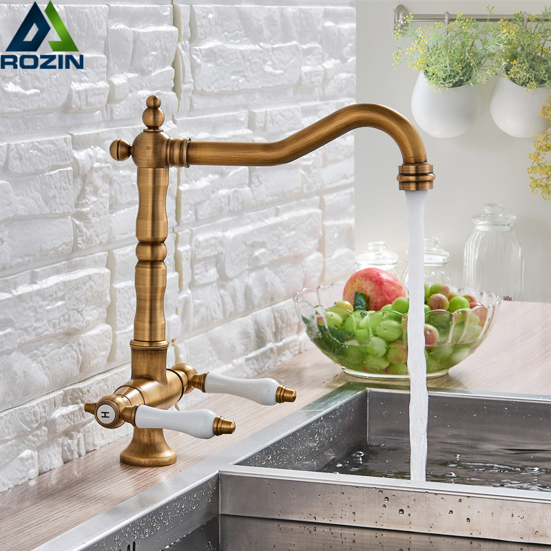 Dual Ceramic Handle Kitchen Sink Faucet Single Hole Antique Brass Cold and Hot Water Tap Swivel Spout Kitchen Mixer Tap