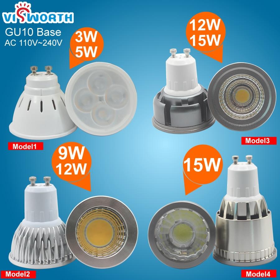 3w 5w Led Spotlight Bulb Smd2835 4pcs Leds GU10 G5.3 Led Lamp 9w 12w 15w Led Cob Light Ac 110v 220v 240v Super Bright Home Light