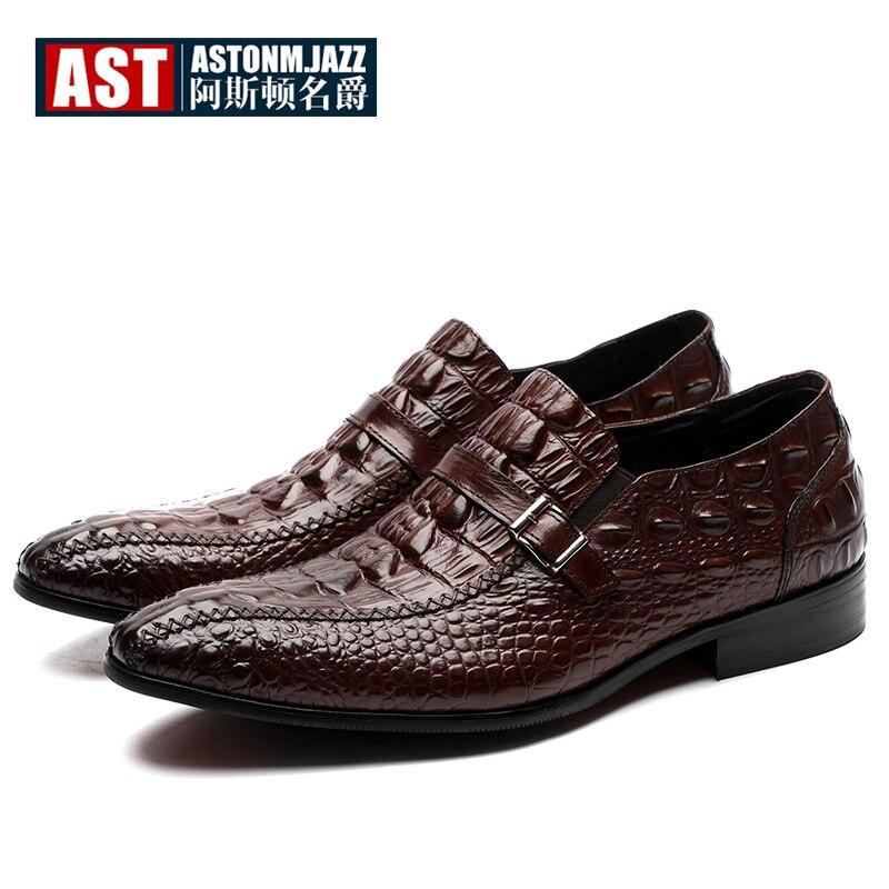هايت نهاية الأعمال الرجال مكتب أوكسفورد تمساح نمط الانزلاق على أحذية من الجلد الحقيقي رجل الفاخرة التمساح الحبوب اللباس أحذية-في أحذية رسمية من أحذية على  مجموعة 1