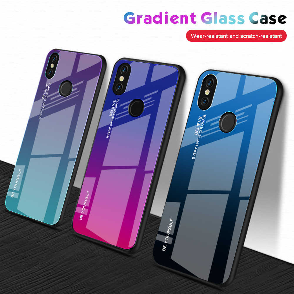 Gradient Tempered Glass Phone Case for Xiaomi Mi A1 A2 Max3 Mix3 Redmi Note5 6A 6pro 5plus Note7 Cover Protective Back Shell