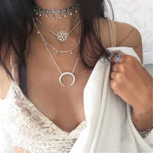 HOMOD New Fashion Multi Layer Necklace Horn Crescent Flower Boho Jewelry s Metal Discs Pendants