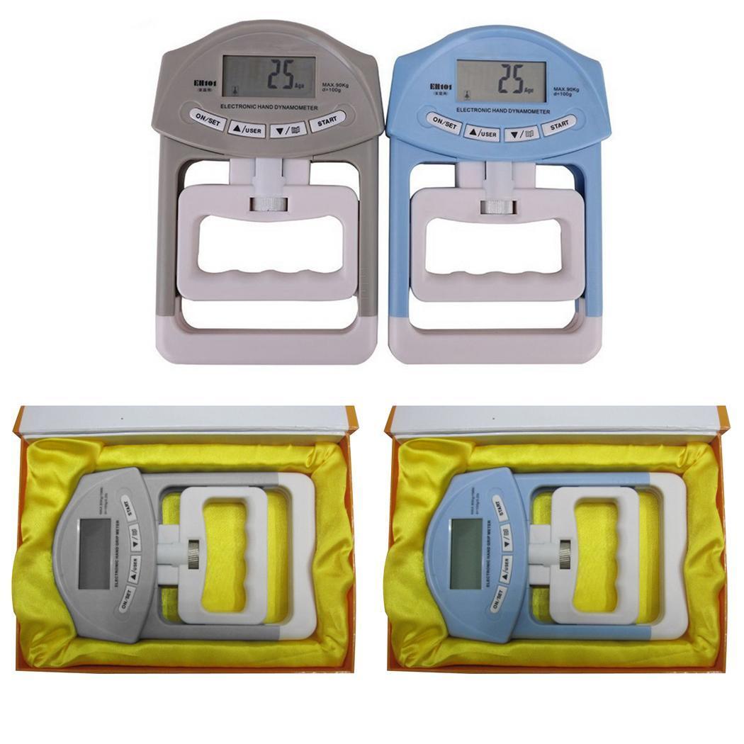 <+>  Портативные цифровые ЖК-динамометрические рукоятки Прочность 90 кг 0 1 кг Метр EH101 2 батарейки ААА ①