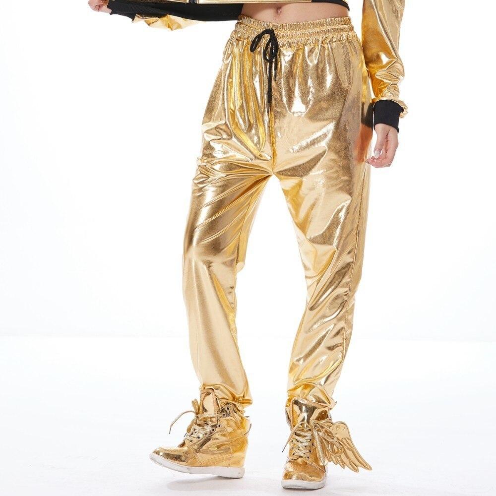 2019 New Fashion Stage Performance Jazz DS Dance Women Harem Pants, Unisex Gold Hip Hop Pants, Loose Sweatpants Hip-hop Trousers