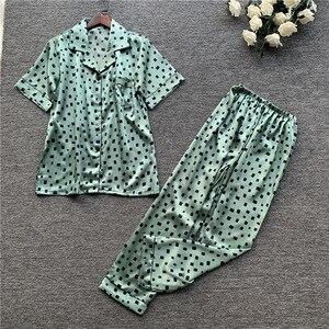 Image 2 - 2019 wiosna kobiety śliczne zestawy piżam z spodnie Satin Pijama kwiat drukuj piżama Nightsuit jedwabna bielizna nocna Pijama Homewear