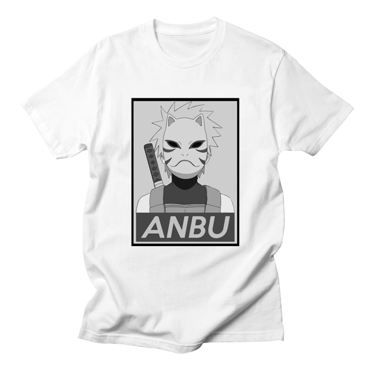 NARUTO Anime ANBU Printed Japan T-shirts Streetwear Short Sleeve O-Neck Tees Tops Summer Funny Tops For Men 2018