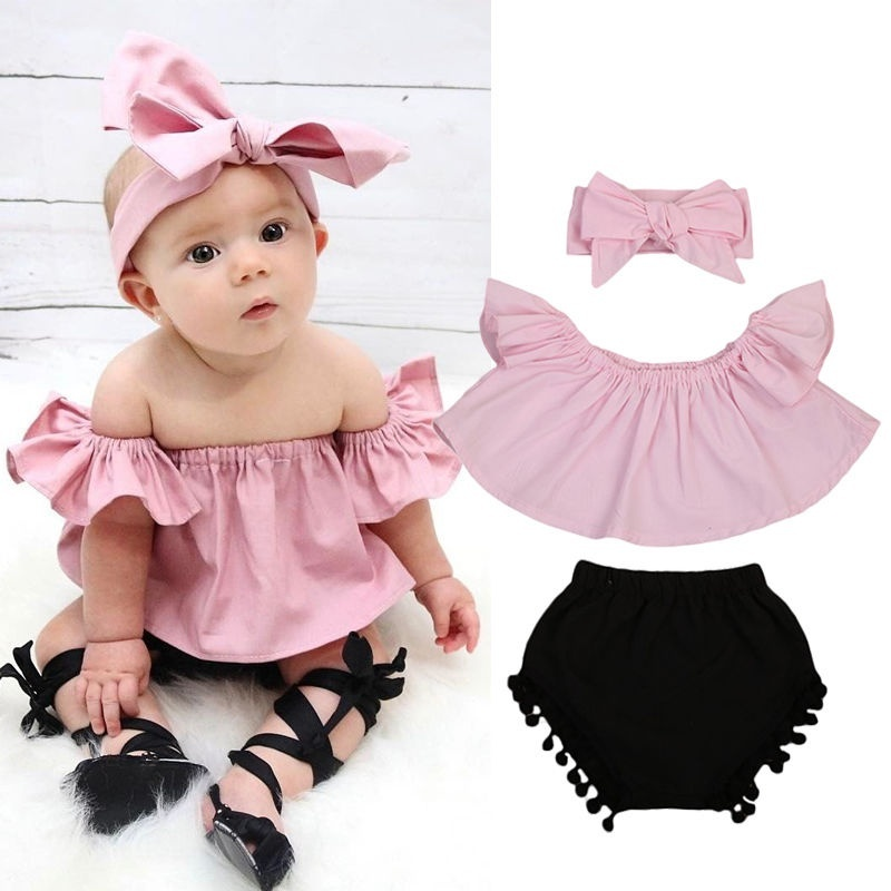 3 Piece Lovely Off Shoulder Top, Shorts And Headband Set For Baby Girl And Girl Clothes
