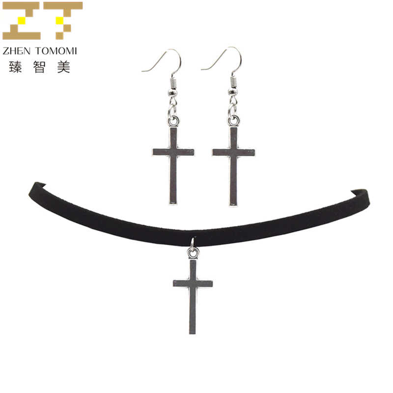 2018 Fashion Black Velvet Leather Bijoux Vintage Retro Cross Choker Necklace/Drop Earrings For Women Jewelry Sets Trendy Party